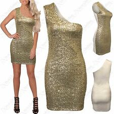 LADIES GOLD SEQUIN ONE SHOULDER MINI DRESS BODYCON WOMEN PARTY CREAM TOP DRESSES