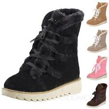 Womens Shoes Winter Flat shoes Cute Lace Up furry ladies Short ankle Boots Size