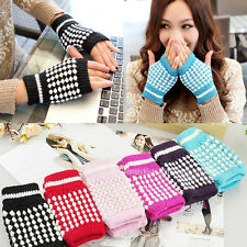 New Warmer Knitting Woolen Mitten Fingerless Crochet Braided Wrist Hand Gloves