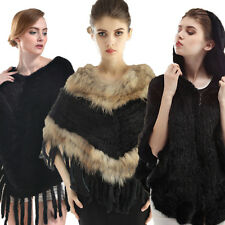 Women Rabbit Fur Warm Wrap Shawl Scarf Cape Poncho Cloak Scarf Outwear Coat Vest