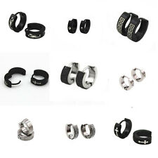 1 Pair Mens Womens Punk Crystal Stainless Steel Ear Hoop Stud Earrings Huggie