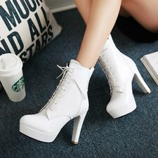 Womens Ankle Boots High heel Platform Lace up Ankle Boots Korean style