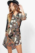 Boohoo Womens Rhiannon Paisley Shirt Dress