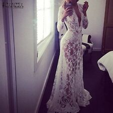 Summer European Style Womens Sexy Lace Embroidery Maxi Solid White Dress Long Sl