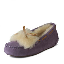 Women's Winter Warm Flats Suede Snow Shoes Fur-lined Slip on Loafers Boat Shoes