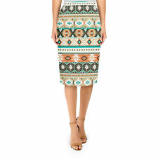 Earthy Aztec Tribal Geometric Midi Pencil Skirt XS - 3XL Bodycon