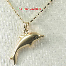 TPJ Beautiful Design Dolphin Handcrafted of 14k Solid Yellow Gold Pendant Charm