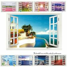9 Styles 3020 Removable Beach Sea 3D Window Scenery Wall Sticker home Decor Deca