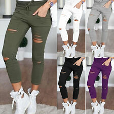 Womens Stretch Cropped Jeans Faded Ripped Skinny Slim Fit Skinny Pants Trousers
