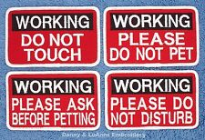 WORKING SERVICE DOG PATCH 2.5X4 DO NOT TOUCH PET Danny & LuAnns Embroidery