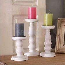 White Metal Carved Pillar Church Candle Holder Sticker Wedding Home Table Decor