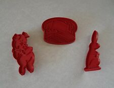 Lot of 3 Tupperware Red Plastic Cookie Cutters: Porky Pig Rabbit & Birthday Cake