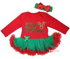 Personalized Name Baby First Christmas Reindeer Red Green Bodysuit Tutu Dress