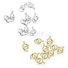 10pcs Sterling Silver Open Spring Ring Clasp Jewelry Findings 6 mm Gold/Silver