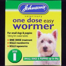 JOHNSONS SIZE 1 DOG & PUPPY EASY WORMER TAPEWORM & ROUNDWORM WORMING TABLETS