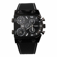 Oulm Men Luxury Military Army Casual Sports Dual Time Quartz Leather Wrist Watch