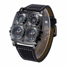 OULM Military Army Dual Time Compass Thermometer Watch Dial Leather Sports Mens