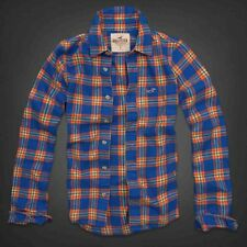 Hollister by Abercrombie Men's Hollywood Beach Flannel Orange Blue Plaid Shirt M
