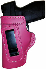 PINK CUSTOM IWB Leather Gun Holster YOUR CHOICE:rh,lh-laser-slide-cant-belt-mag+
