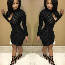 Sexy Women Long Sleeve Bandage Bodycon Evening Party Cocktail Mini Dress Black