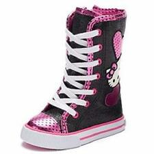 Girls Toddler HELLO KITTY ZOWIE Black/Pink Glitter Casual Fashion Boots Shoes