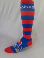 Kansas Jayhawks Adult Red and Blue Wide Striped Knee Socks Logo on Foot Name Top