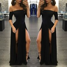 Sexy Womens Off Shoulder Long Party Dress Side Slit Evening Gown Cocktail Dress