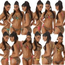 Swimwear Swimsuit Push-Up Bikini Leopard look Halter neck (F2868)