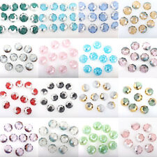 50PCS Half Silver Plated Flat Round Loose Spacer Crystal Beads 8mm Jewelry DIY