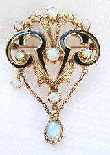 FABULOUS ANTIQUE GOOD COLOR PLAY OPALS & SEED PEARLS 14K GOLD BROOCH OR PENDANT