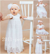 Free Shipping 2016 Baby Baptism Dresses White Ivory Christening Gown Custom made