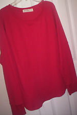 LADIES~HOLIDAY~FADED GLORY~RED THERMO KNIT TOP/RAGLAN LONG SLEEVES  XXL 20