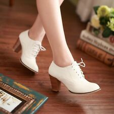 Womens Fashion Block Mid Heel Lace Up Brogue Oxfords Casual Shoes Plus Size10.5