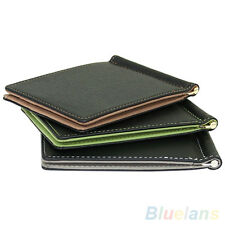 Ultra-Thin Magic Money Clip Faux Leather Card Holder Bifold Mini Wallet Little