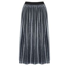 Women Fleece High Waist Solid Pleated Hem Elastic Waist Midi Skirt Dress