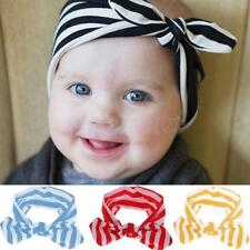 Baby Girls Bunny Ear Kids Stripe Turban Knot Headband Bow Hair Band Head Wrap