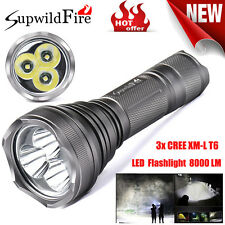 SupwildFire 8000Lm 3x XM-L T6 LED 5-Mode 18650 Flashlight Light Lamp Super Torch