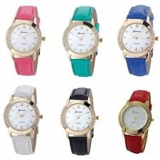 Geneva Women Fashion Diamond Analog Quartz Faux Leather Wrist Watch Watches Gift