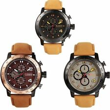 Fashion Stainless Steel PU Leather Sport Military Analog Quartz Mens Wrist Watch