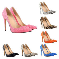T Fashion Women Snake Skin Leopard 11CM High Heels Stilettos Pointed Pumps Shoes