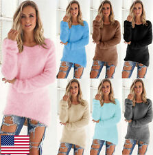 Women Casual Sweater Plain Fluffy Knitted Outwear Fashion Warm Crew Neck Top