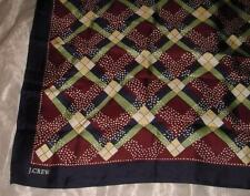 "J Crew 34"" Square Large Size Pure Silk Scarf ~ Argyle Pattern ~ Made in Japan"