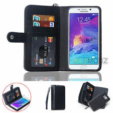 Zipper PU Leather Wallet Card Holder Flip Case Cover For Samsung Galaxy S6 S5