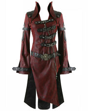 Punk Rave Shadow Jacket Womens Red Black Goth Steampunk Faux Leather Coat