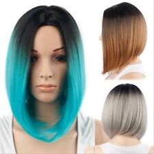 Sexy Women Short Straight Omber Gradient Mix Synthetic Hair Full Wig Cosplay