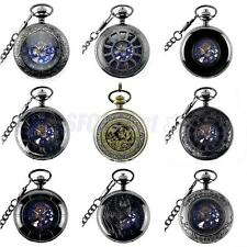 Men Punk Hollow Case Automatic Mechanical Necklace Pocket Watch Jewelry Gifts