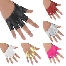 Stylish Women Half Finger Faux Leather Gloves Nightclub Rock Dance Stage Driving