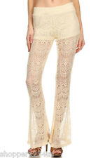 Vintage Ivory Gorgeous Stretch Lace Flare Leg Long Pants Shorts Lining 33.5 Tall
