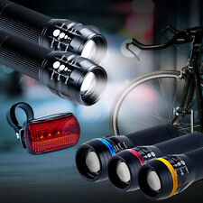 2x CREE Q5 LED Bike Bicycle Cycle Zoomable Front Lights + Rear Lamp SET UK STOCK