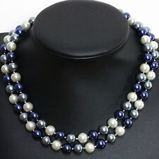 """Long 34"""" 36"""" 48"""" 10mm 12mm South Sea Shell Pearl Round Beads Necklace AAA"""